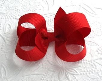 Red Boutique Hair Bow ~ Christmas, Toddlers, Girls, Back to School