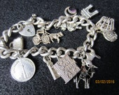 QUICK SALE REDUCTION Vintage English Sterling Silver Charm Bracelet
