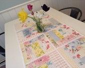 Quilted Summer Flowers Tablerunner Vintage Linens
