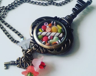Steam punk, key, miniature sweets, candy, mix colour, whimsical, by NewellsJewels on etsy