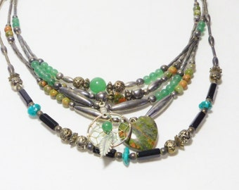 Vintage 70's Silver Turquoise Jasper Aventurine Necklaces, Jewelry