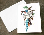 Blank Dreamcatcher and Arrow Flowers Original Art Print Blank Card 4.25 x 5.5 inches