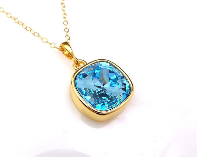 Swarovski aquamarine blue vintage style square gold framed pendant crystal rhinestone gold plated silver chain necklace christmas gift