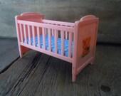 Vintage Doll House Crib Plastic Idea Miniature Furniture Baby Nursery Decor