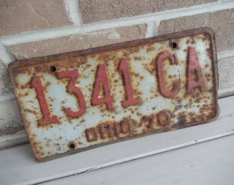License Plates Ohio Vintage 1970 Rustic Garage, Industrial, Man Cave, Pub, Bar Decor, Barn, Wall Hanging, Old Sign Home Decor