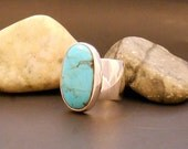 Kingman turquoise ring, cocktail ring, statement ring, large turquoise stone, size 7 ring, size 6 ring, sterling silver ring, real turquoise