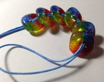 Handmade  Square RAINBOW BEADS Jewelry Supplies Fused Glass Beads - Set of 6  Pride Jewelry  ROYGBIV Jewelry Craft Supplies Jewelry Supplies