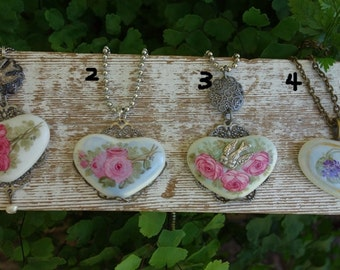 Hand Painted Porcelain Pink Roses  Heart charm ornament  pendant necklace Choice of 1