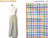 50% OFF SALE vintage pants rainbow plaid 1970s retro womens clothing high waisted wide leg size s m small medium