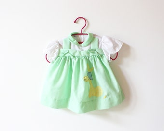 vintage baby girl's dress 70's childrens clothing applique green giraffe 1970's size 3 6 mos months