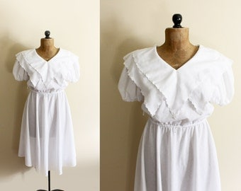 vintage dress 70s white lace double collar ruffle womens clothing 1970s size l xl extra large