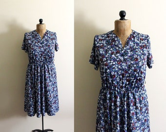 vintage dress 70's floral print blue 1970s womens clothing size medium m