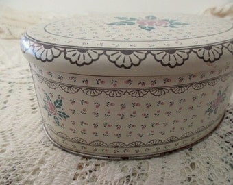 Meister vintage DECORATIVE TIN-Made in BRAZIL, floral, oval