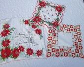 3 vintage CHRISTMAS hankies