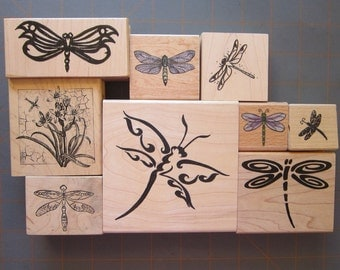 9 rubber stamps - DRAGONFLY stamps - gently used