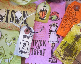 handmade gift tag bundle - HALLOWEEN - goth girl, skull and crossbones, skull, jack o'lantern, trick or treat, chandelier