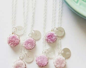 Tiny druzy pendant necklace with personalized disc on sterling silver chain -modern personalized jewelry