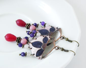 Enamel earrings - purple - pink - red - copper - gemstones - cloisonne