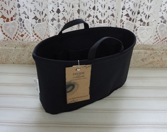 Purse ORGANIZER Insert Shaper / BLACK / Size SMALL / 10.5 x 3.5 x 6H oval / Sturdy & Durable /Choice of bottom type/ Handles / Ready to Ship