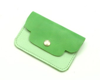 SALE -40% Small leather wallet green mint pastel blue yellow
