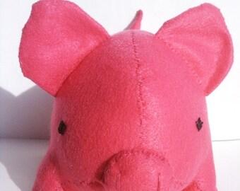 ON SALE Large hot pink pig stuffed animal