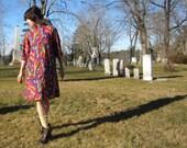60s mod midi aline dress - abstract paisley pattern - mandarin collar - zip front