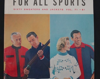 1950s Knit Pattern Book / 1958 The Bernat Book for All Sports Sixty Sweaters and Jackets Vol 71 / 50s Knitting Magazine Sporting Knitwear