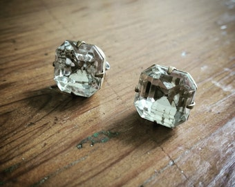 Crystal Jewel Stud Earrings // Old World Style // Vintage Czech Stock Glass Rhinestones // Raw Brass // Surgical Steel // Wedding Day Bling