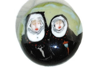 Sisters of Creation  Lampwork Glass, Murrini, Paperweight Button 20mm