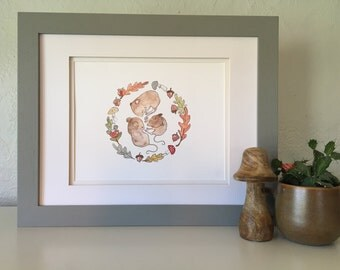 Baby Mice Auntumn Reproduction of a watercolor illustration--8x10 print