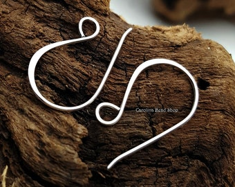 Large Flattened Hook Earring Findings - C2599, Sterling Silver