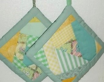 POTHOLDERS (#4) Greens, Crazy Quilt Patterns, Old Timey Design, US Made. Kitchen Decor, Primative, Lodge, Country. Contemporary Decor