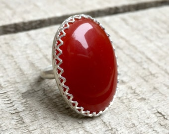 Elegant Romantic Large Oval Red Chalcedony Crown Bezel Statement Ring in Sterling Silver