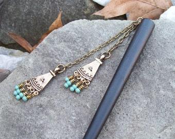 Boho Bohemian hair stick, hair pin, beaded hairstick, dangle Gypsy chandelier, decoravite hair adornment