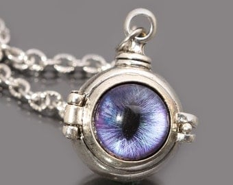 Steampunk Necklace Eye Necklace Silver Poison Necklace Evil Eye Necklace Dragon Eye