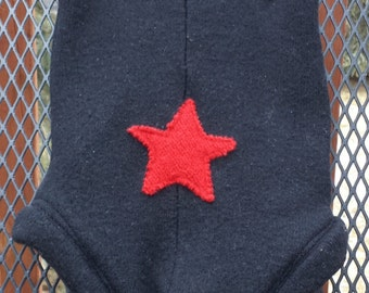 Upcycled Wool Diaper Cover, Soaker, large, black, red star on bum