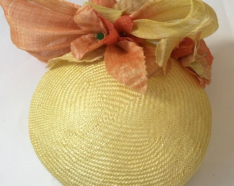 Beret Percher Yellow Turban Hand Blocked Women Hat Luxe Millinery
