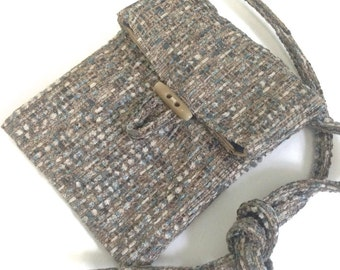 Small Shoulder Bag Brown Blue Tweed Upholstery Fabric Essentials Bag Purse Handbag Lined Back Phone Pocket Pouch Sac