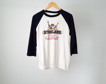 vintage 80s men's PITTSBURGH STEELERS nfl football CHAMPION brand t-shirt made in usa