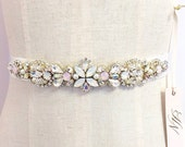 Crystal and Opal Bridal Belt- Narrow Bridal Belt- Swarovski Crystal Bridal Sash