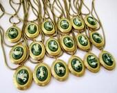 Vintage Green Marbled Zodiac Stone Locket Necklace, 30 inch vintage brass snake chain