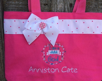 Pink scripture tote, I am a Child of God, monogrammed at no additional charge