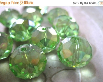 20% OFF ON SALE Green Chinese Crystal Faceted Rondelle Ab 12mmx10mm Beads, 10 pcs