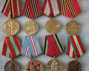 Soviet Military Medal - Set of 8 Medals - 50 60 70 Anniversary of the Soviet Army and Navy - 20 30 50 65 Years War Victory - from USSR