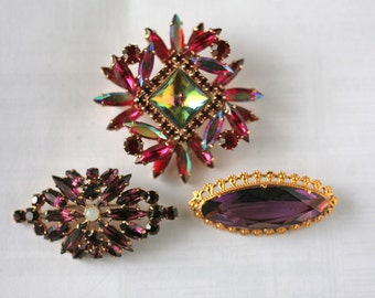 three vintage brooch made of colored glass in brass of the Soviet Union, 70-80 years