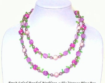 """42"""" Flapper Style Fruit Salad Purple & Pink Beaded Flower Necklace with Lucite Beads - Retro 40's Plastic Costume Jewelry"""