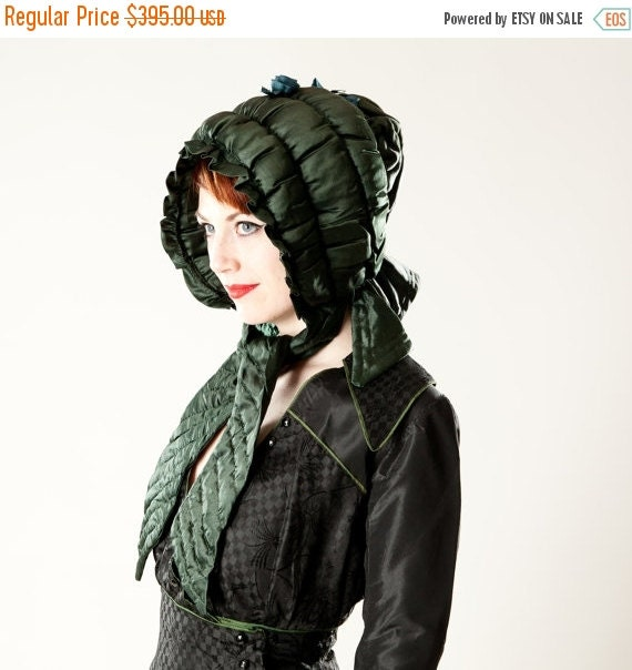 30% OFF SALE Antique Victorian Silk Bonnet Hat - Hand Stitched Hunter Green Silk Curtain