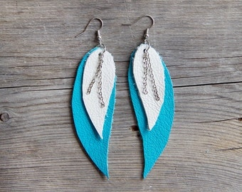 Blue and white Feather Leather Earrings