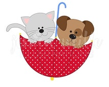 SALE Cat and Dog Umbrella Cute Digital Clipart, Raining Cats and Dogs Clip art, Cat Graphic, Dog Illustration, #1563