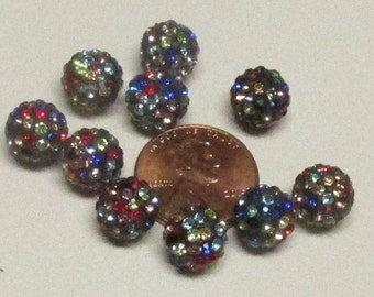 10mm Multicolored Rhinestone Disco Balls (20)